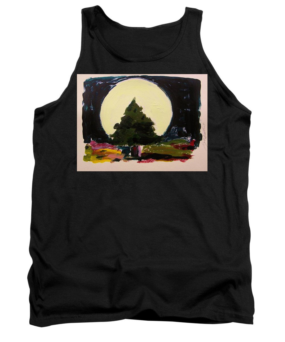 Monoprint Tank Top featuring the painting Against The Moon by John Williams