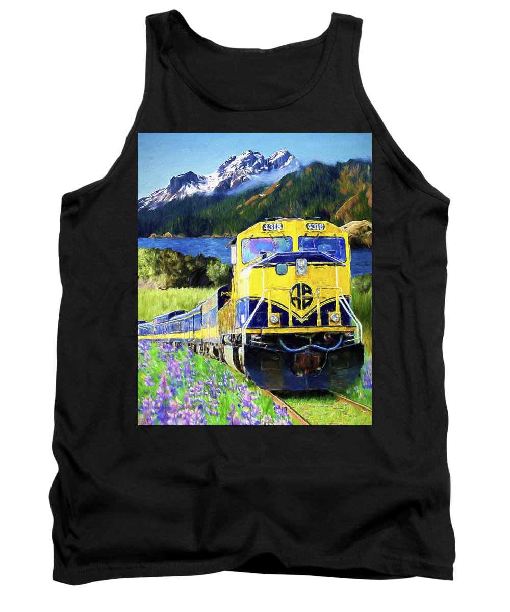 Railroad Tank Top featuring the painting Alaska Railroad by David Wagner