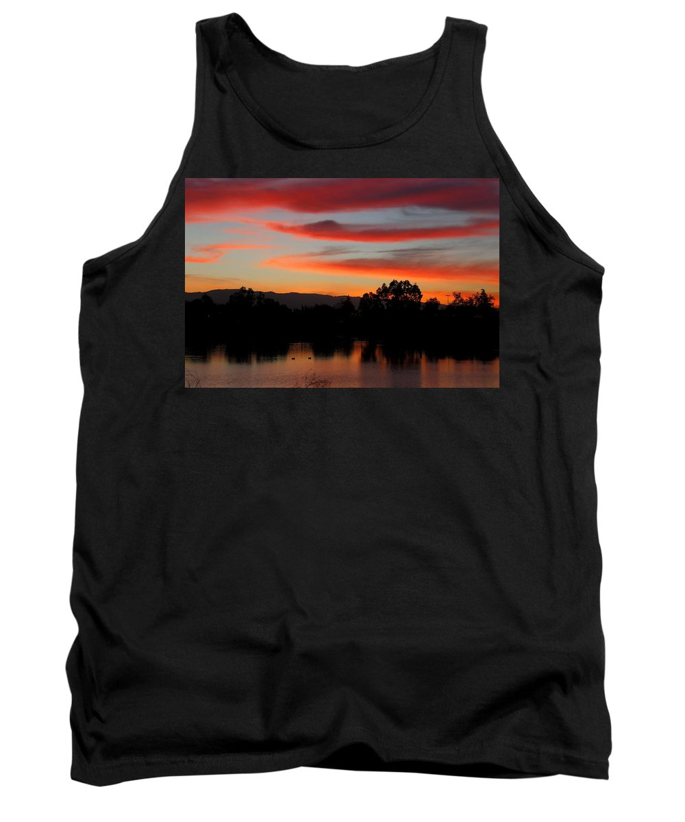 Sunrise Tank Top featuring the photograph Almaden Sunset by Ru Tover