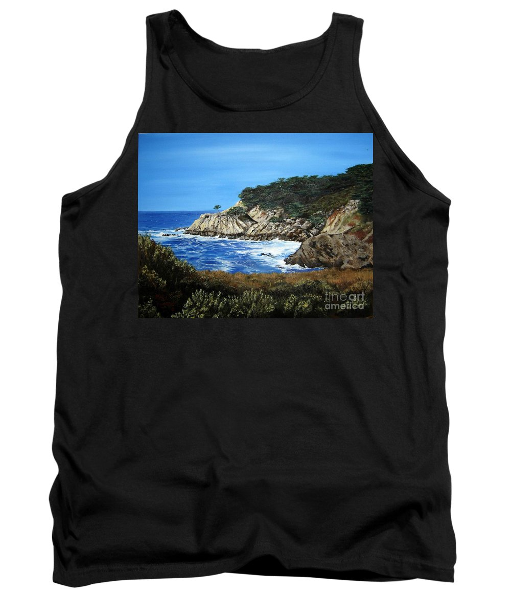 Landscape Tank Top featuring the painting Along The California Coast by Mary Rogers
