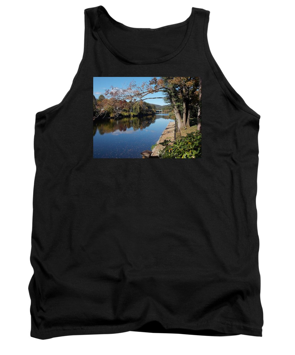 Along Tank Top featuring the photograph Along The River In Shelbourne Falls by Nina Kindred