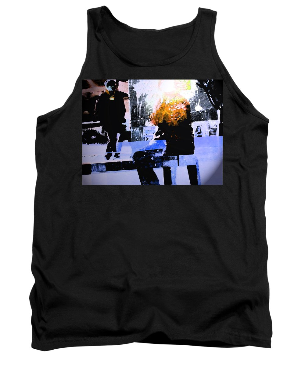 Abstract Tank Top featuring the digital art Alternate Reality - Photographer On Fire by Lenore Senior