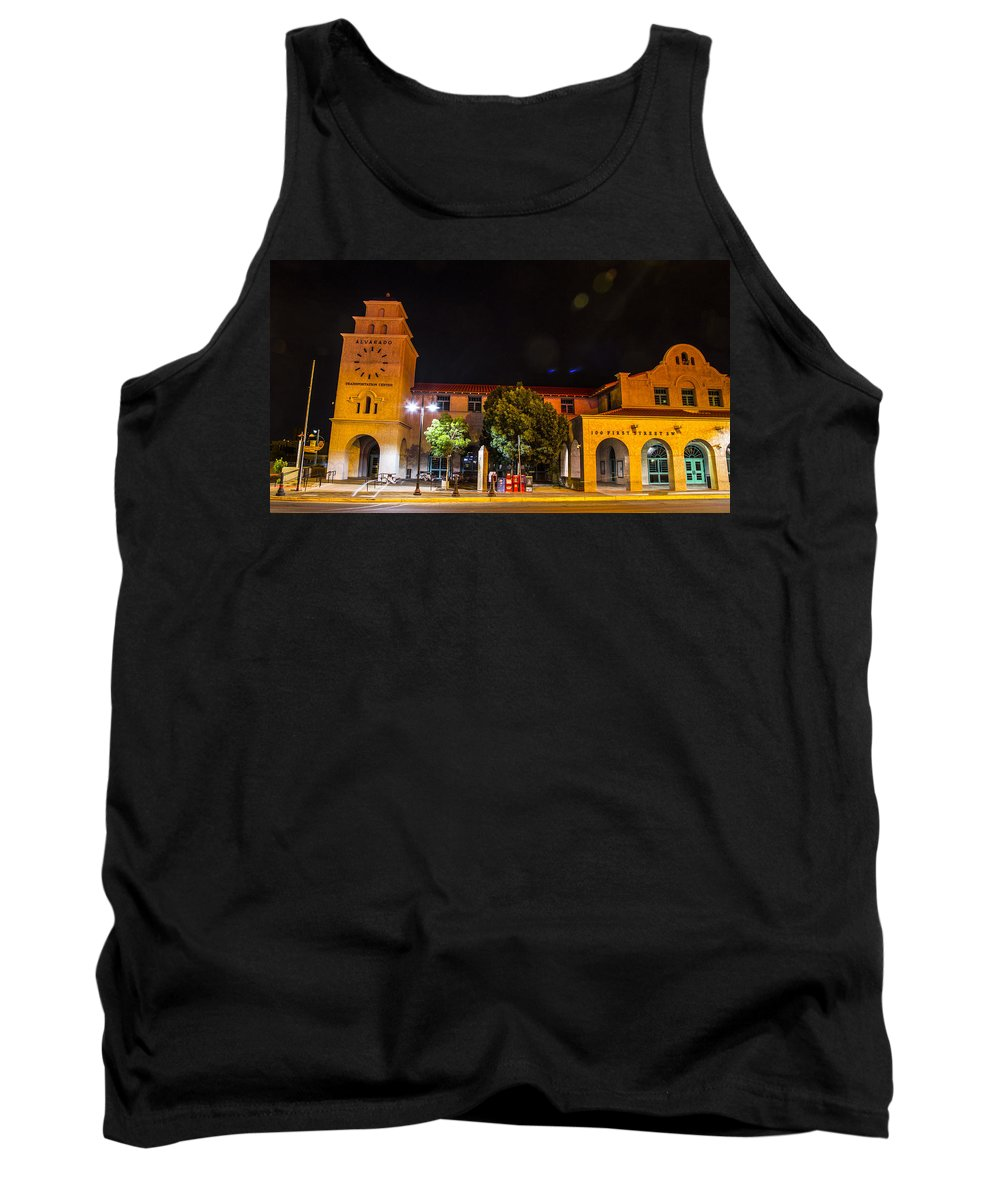 Route 66 Tank Top featuring the photograph Alvarado Transportation Center Night by Angus Hooper Iii