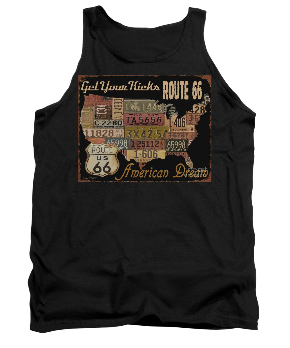 Jean Plout Tank Top featuring the digital art American Dream-route 66 by Jean Plout