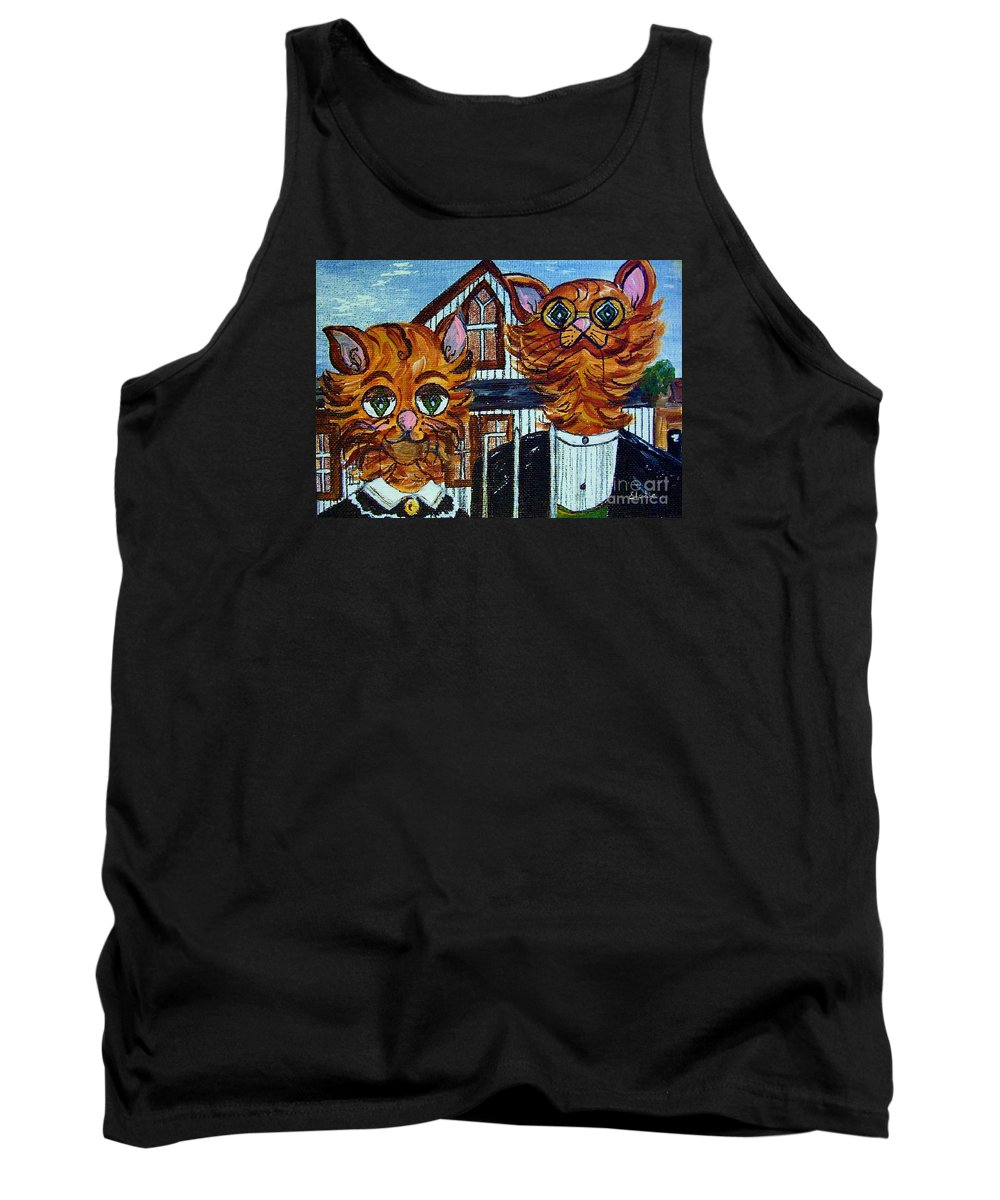 American Tank Top featuring the painting American Gothic Cats - A Parody by Eloise Schneider Mote