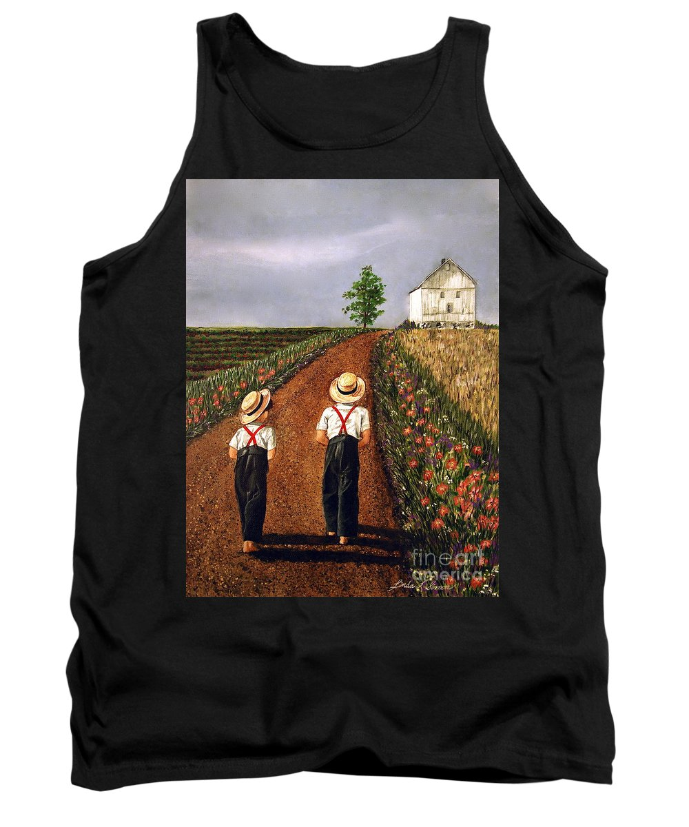 Lifestyle Tank Top featuring the painting Amish Road by Linda Simon