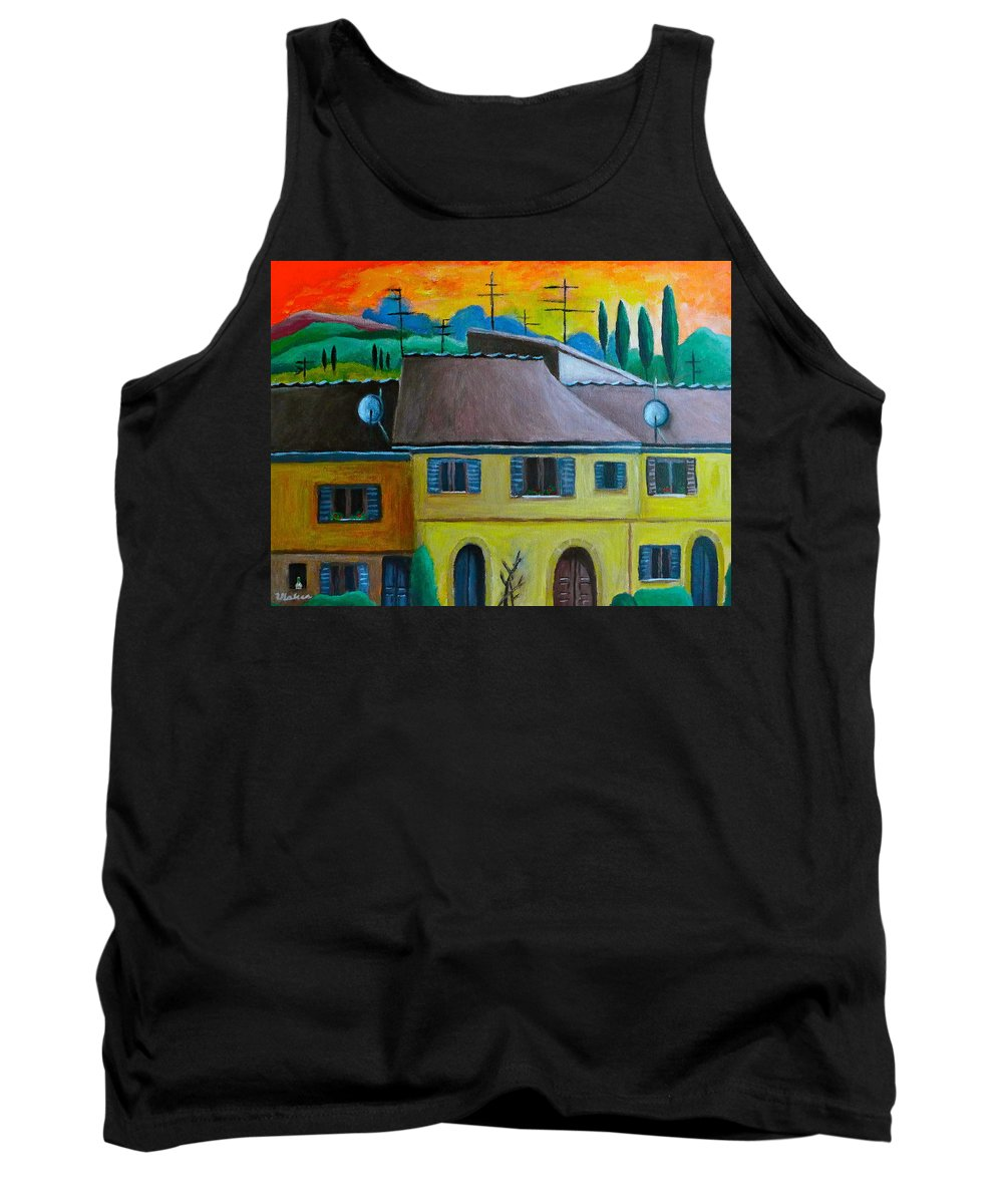 Volterra Tank Top featuring the painting Ancient Volterra Wired by Victoria Lakes