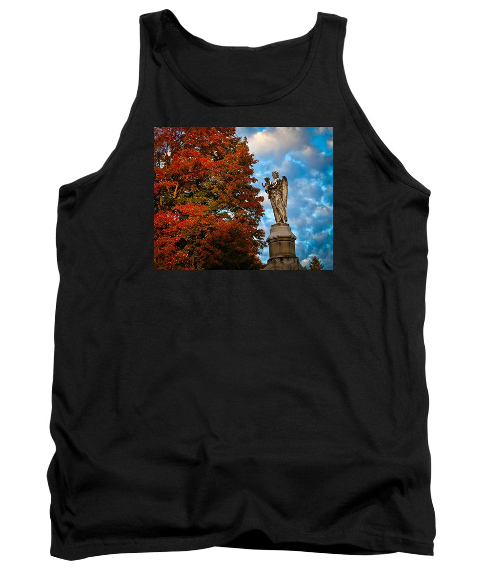 Angel Tank Top featuring the photograph Angel And Boy In Foliage Scenery by Jiayin Ma