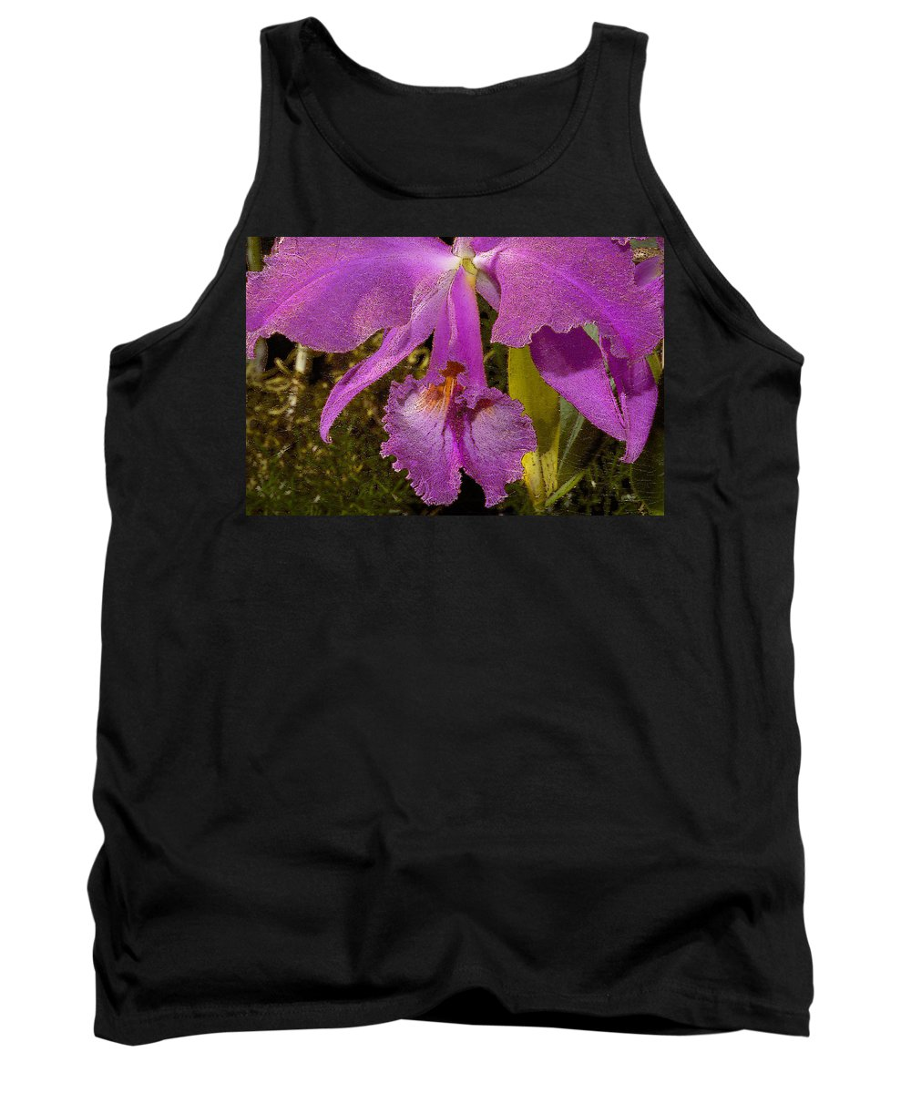 Orchid Tank Top featuring the photograph Angel Orchid Gold Leaf by Phyllis Denton