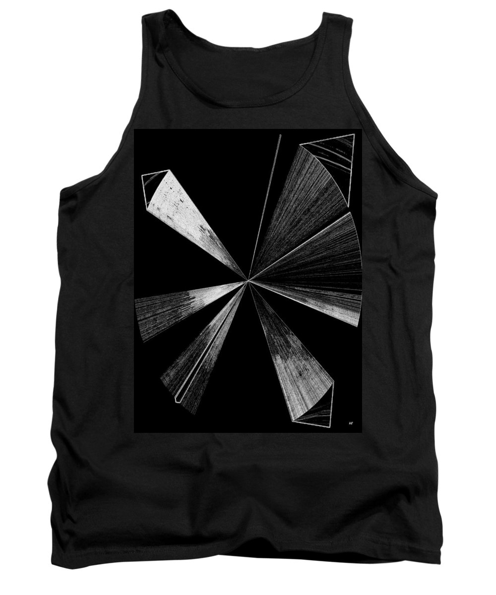 Antenna Tank Top featuring the digital art Antenna- Black And White by Will Borden