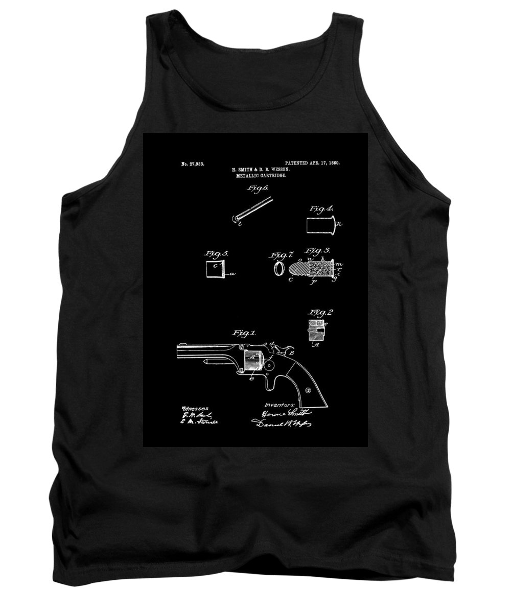 Patent Tank Top featuring the drawing Antique Smith And Wesson Patent For A Metallic Cartridge 1860 by Mountain Dreams