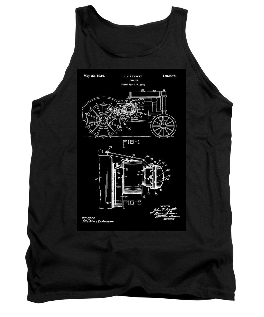 John Deere Tractor Patent Tank Top featuring the digital art Antique Tractor Patent by Dan Sproul