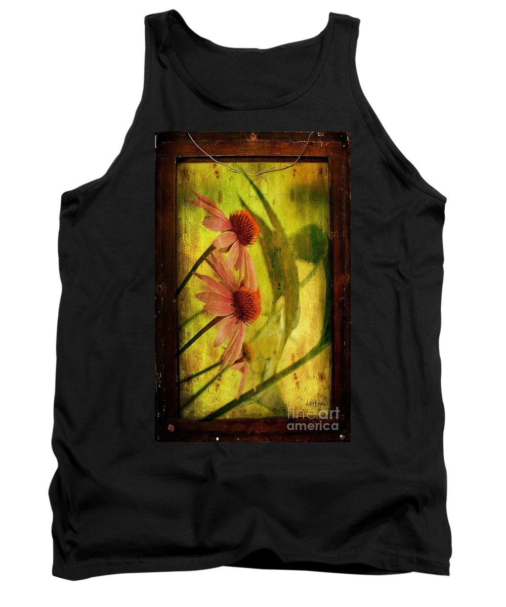 Floral Tank Top featuring the photograph Antiqued Cone Flowers by Lois Bryan