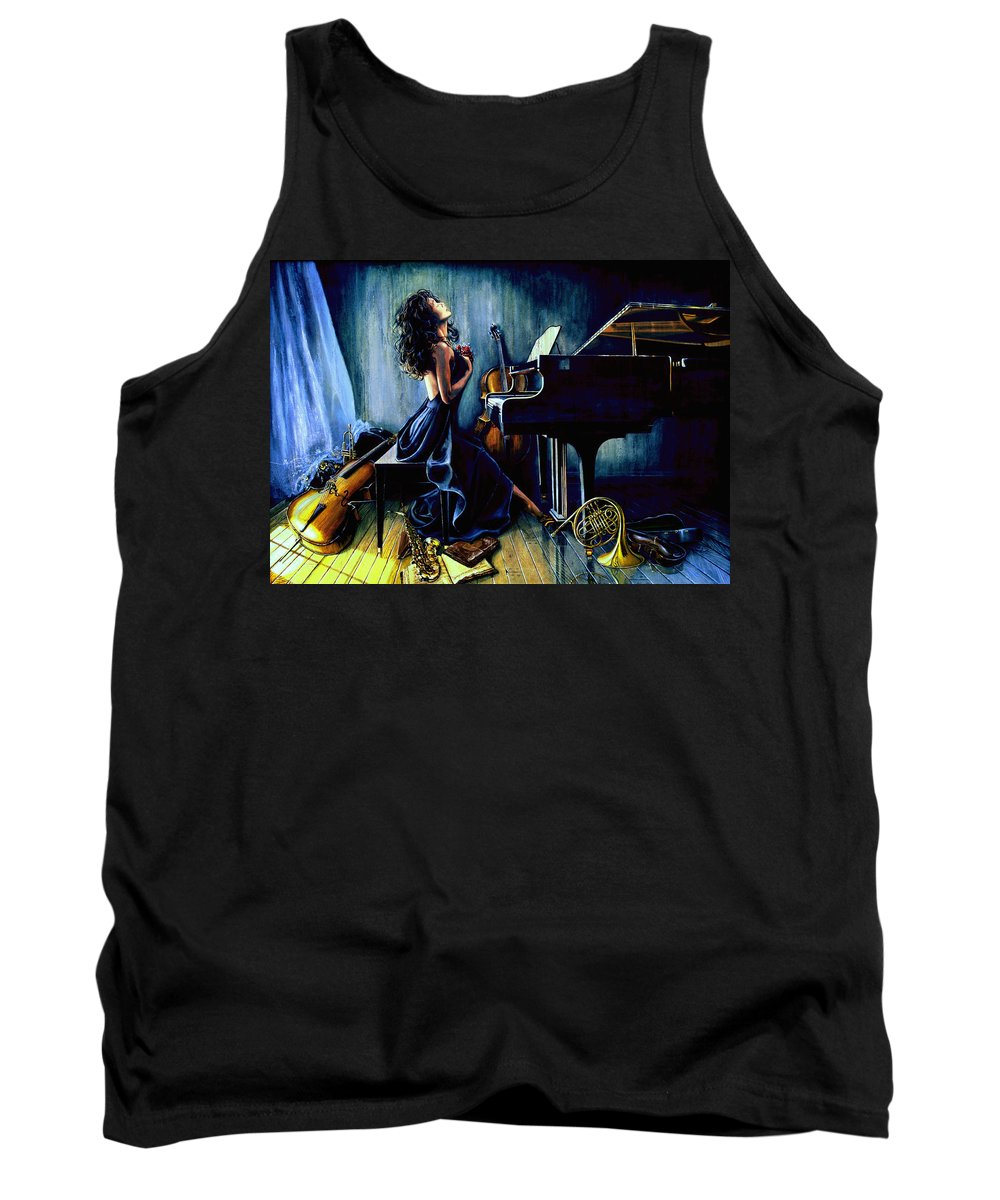 Musical Instrument Still Life Tank Top featuring the painting Appassionato by Hanne Lore Koehler