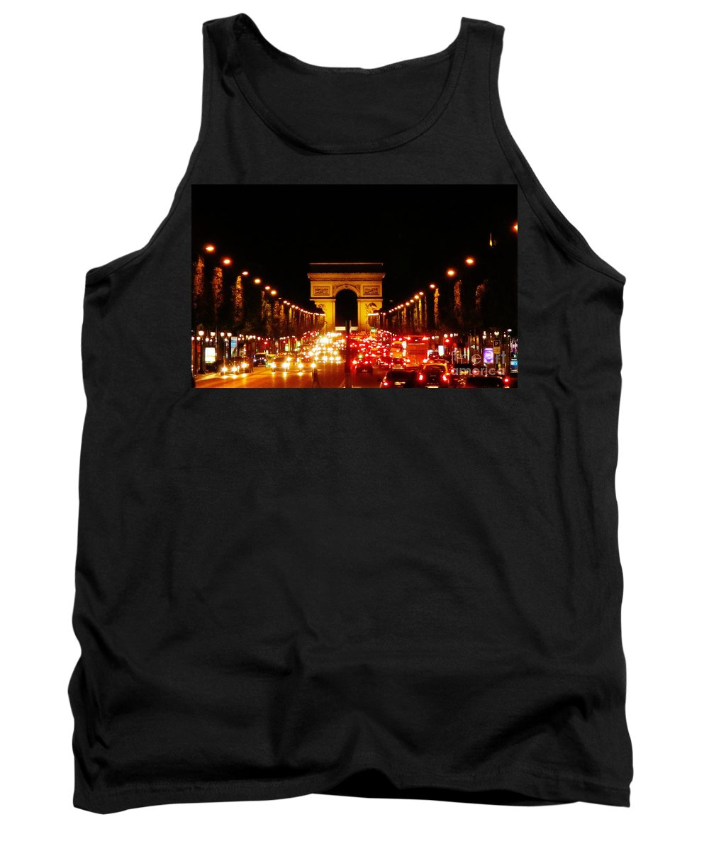 Arc De Triomphe At Night Tank Top featuring the photograph Arc De Triomphe At Night by John Malone