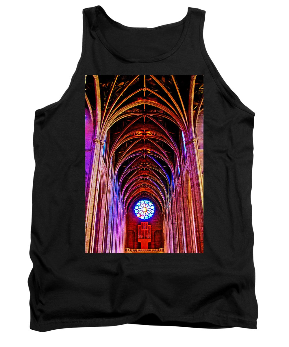 Archway In Grace Cathedral In San Francisco Tank Top featuring the photograph Archway In Grace Cathedral In San Francisco-california by Ruth Hager