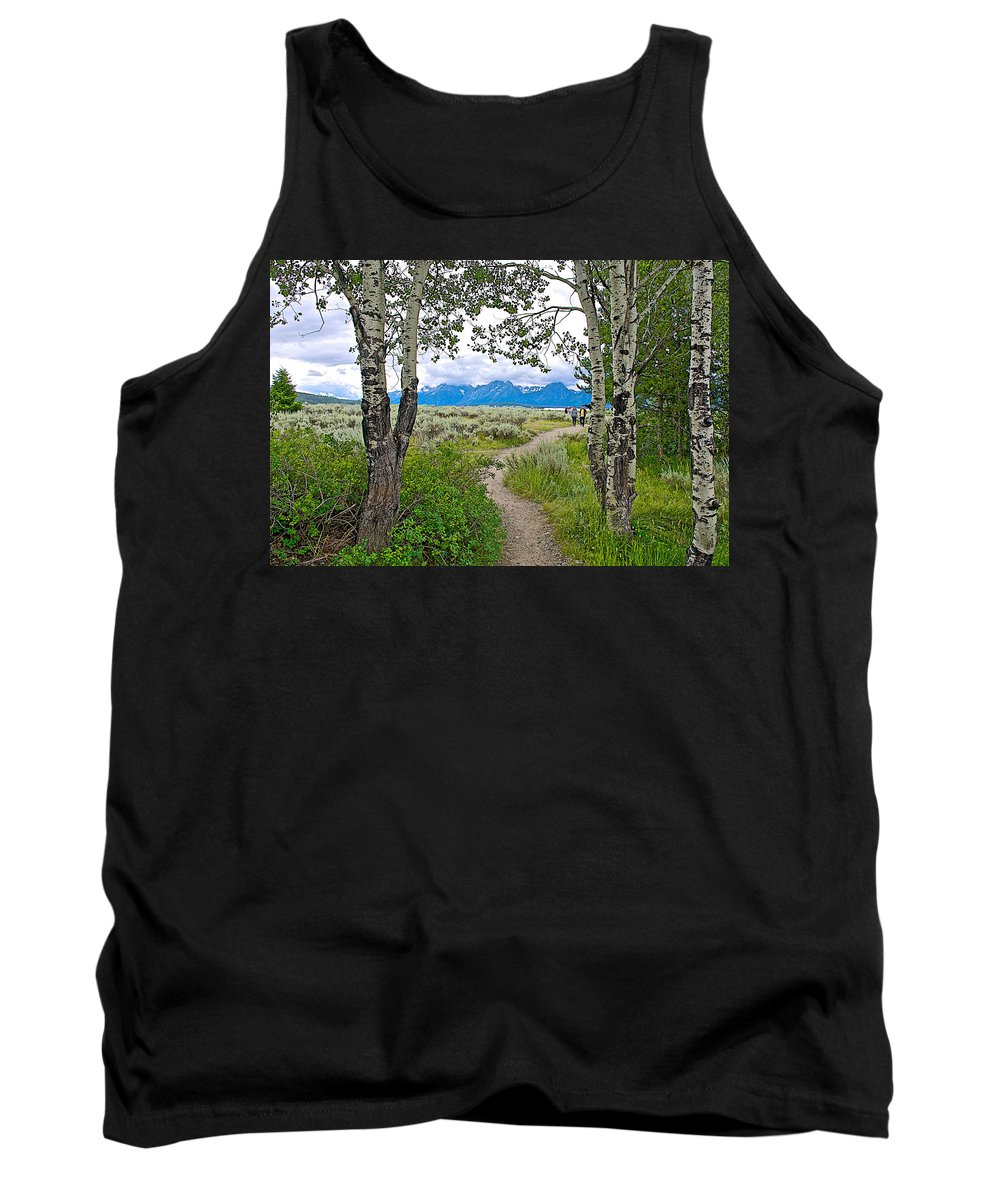 Aspen Trees On Trail To Jackson Lake At Willow Flats Overlook In Grand Teton National Park Tank Top featuring the photograph Aspen Trees On Trail To Jackson Lake At Willow Flats Overlook In Grand Teton National Park-wyoming by Ruth Hager