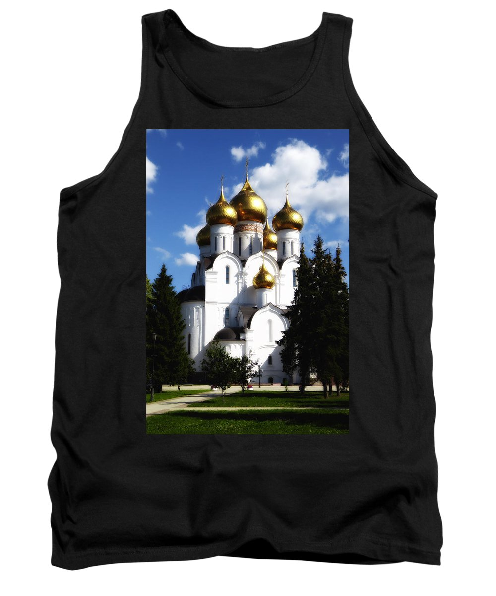 St. Basils Cathedral Tank Top featuring the photograph Assumption Cathedral Yaroslavl Russia by Linda Dunn