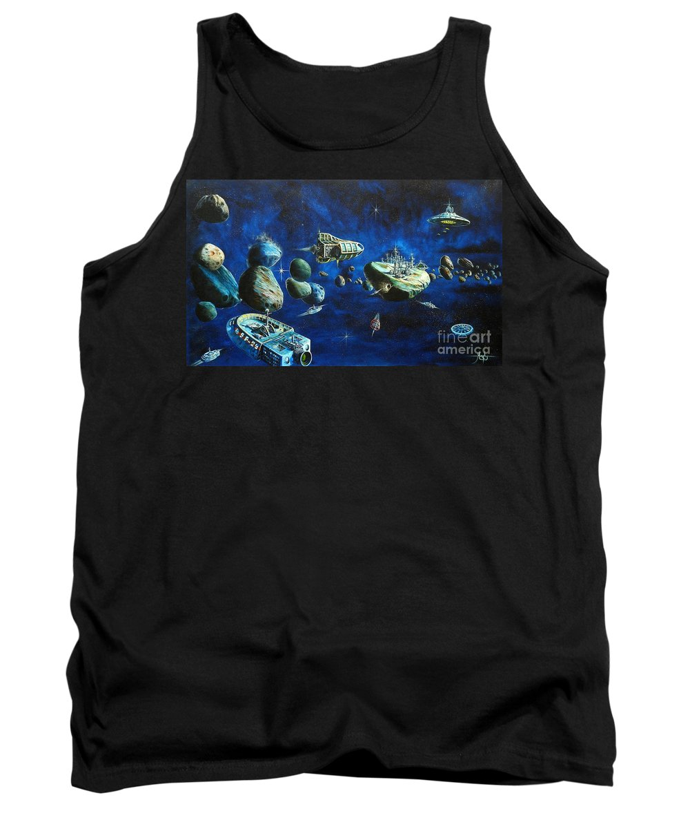 Fantasy Tank Top featuring the painting Asteroid City by Murphy Elliott