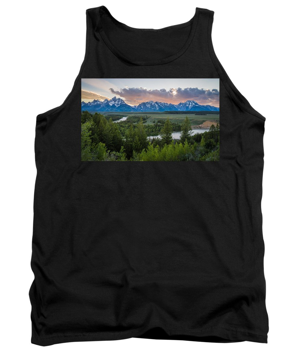 Grand Teton Tank Top featuring the photograph At The Snake by Kristopher Schoenleber