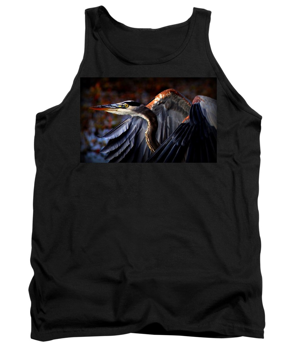 Heron Tank Top featuring the photograph At Waters Edge - Great Blue by Travis Truelove