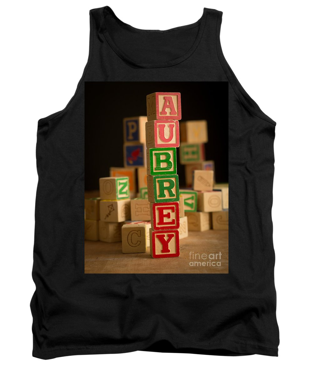 Alphabet Tank Top featuring the photograph Aubrey - Alphabet Blocks by Edward Fielding