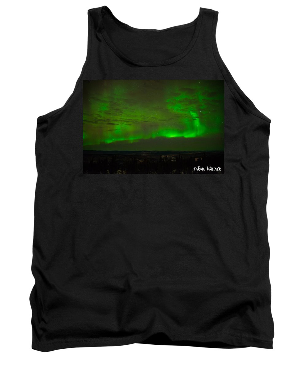 Alaska Tank Top featuring the photograph Aurora Flare With Clouds by Joan Wallner