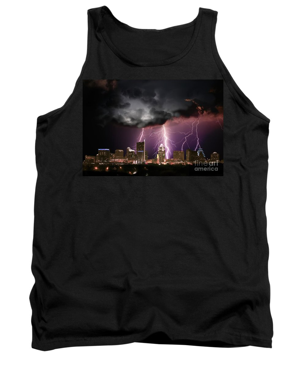 Lightning Tank Top featuring the photograph Austin Light Show by Randy Smith