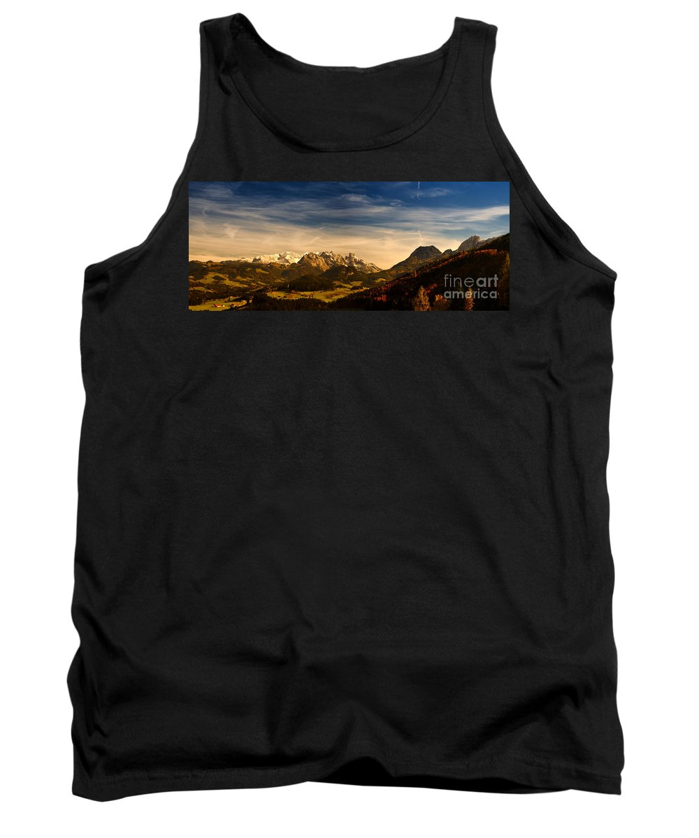 Panorama Tank Top featuring the photograph Austrian Autumn Scenic Panorama by Sabine Jacobs