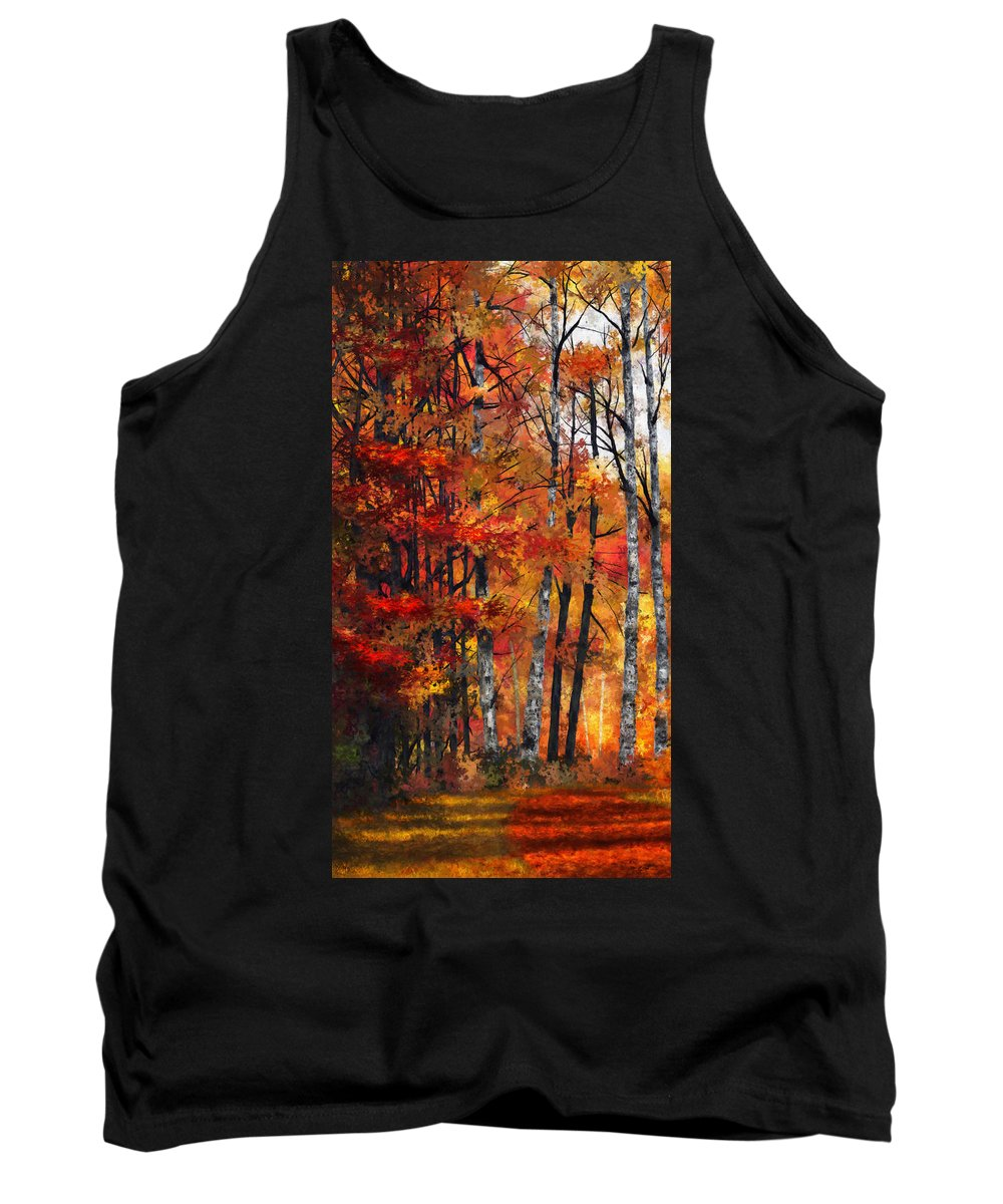 Triptych Tank Top featuring the digital art Autumn Glory I by Dale Jackson