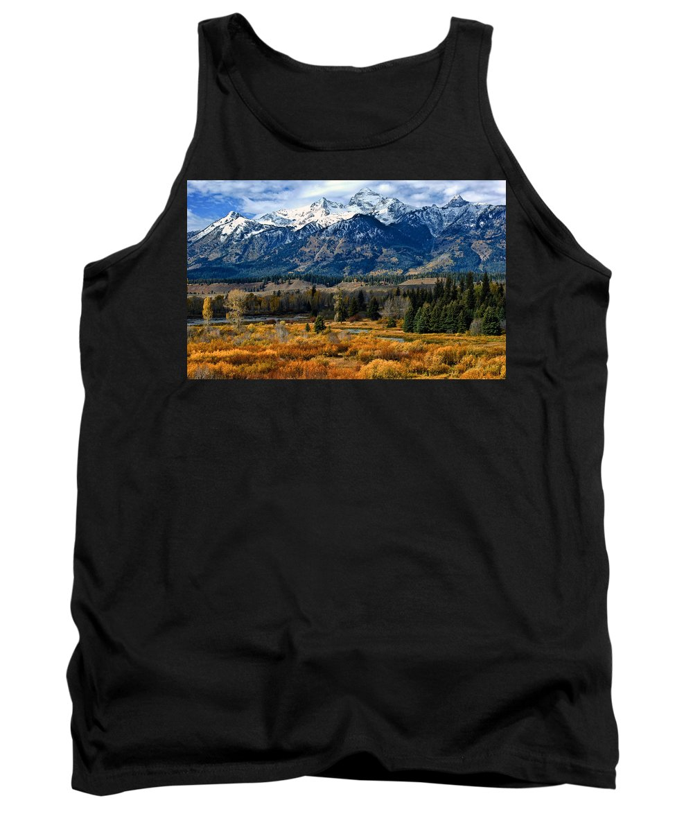 Mountain Tank Top featuring the photograph Autumn In The Tetons by Brian Kerls