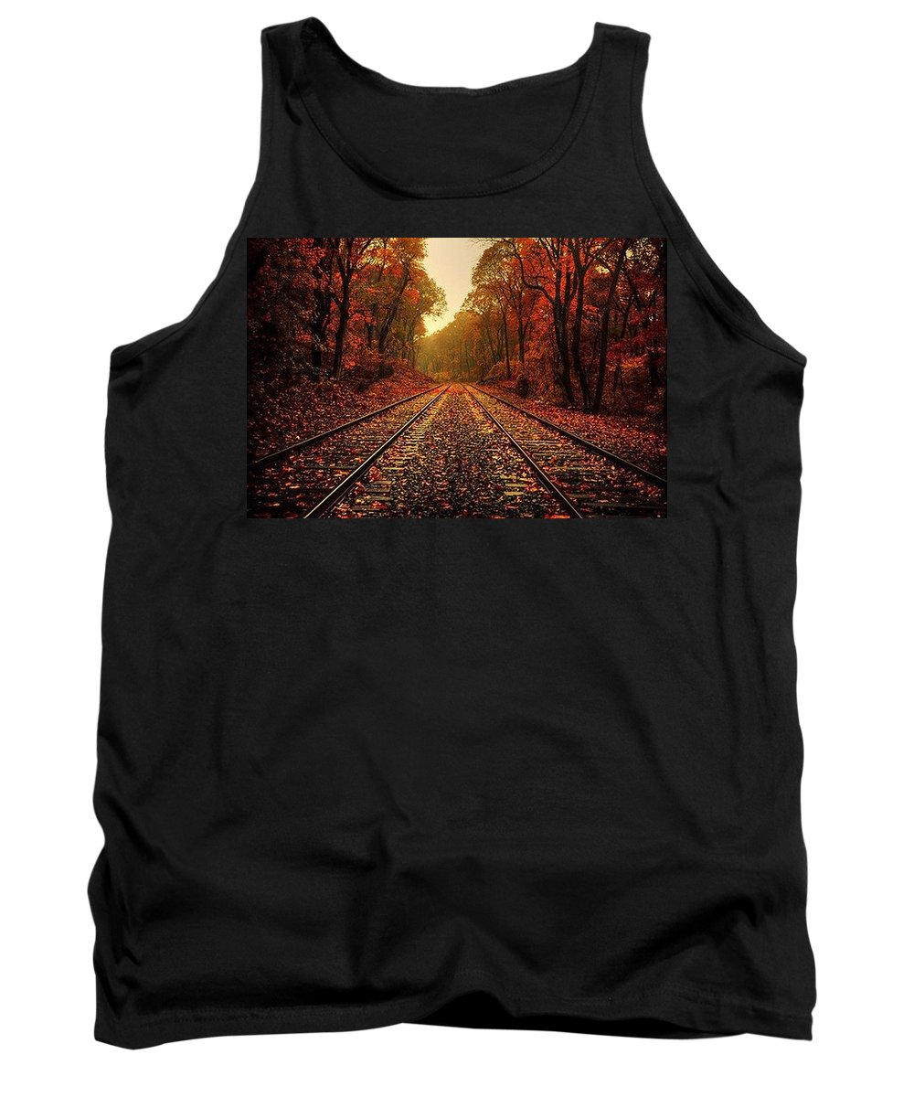 Autumn Color Prints Tank Top featuring the photograph Autumn On The Tracks by R A W M