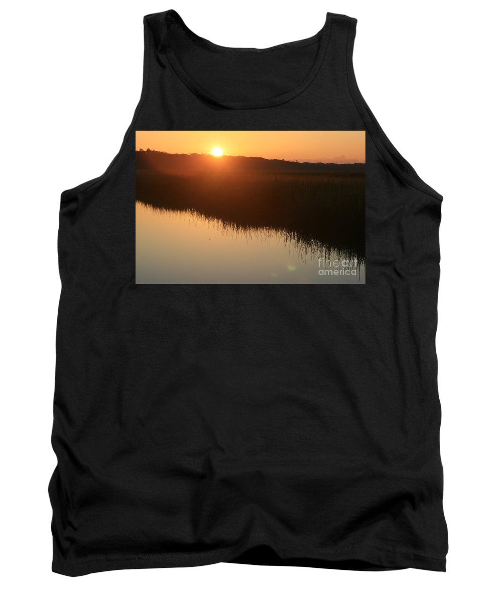Sunrise Tank Top featuring the photograph Autumn Sunrise Over The Marsh by Nadine Rippelmeyer