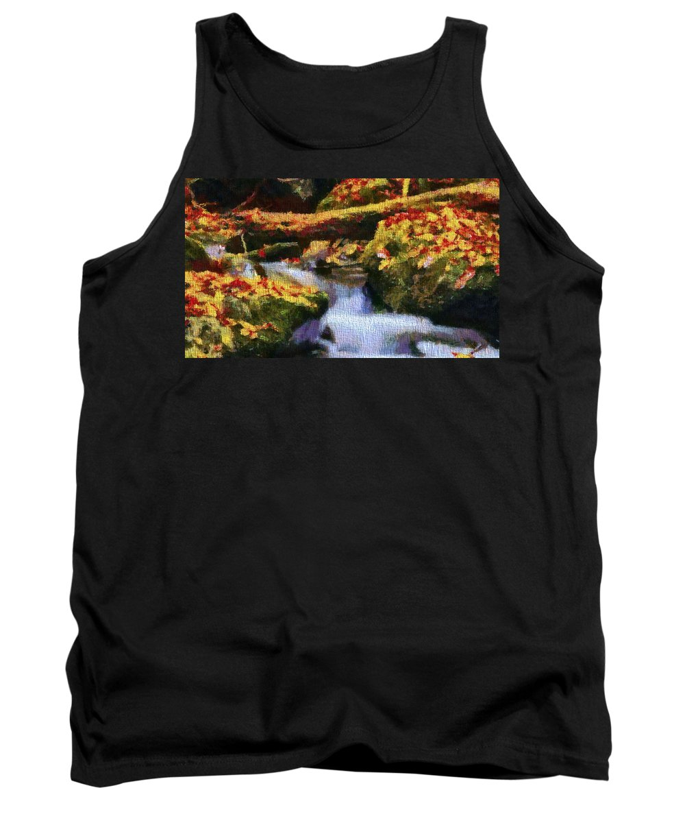Autumn Waterfall Canvas Tank Top featuring the mixed media Autumn Waterfall Canvas by Dan Sproul