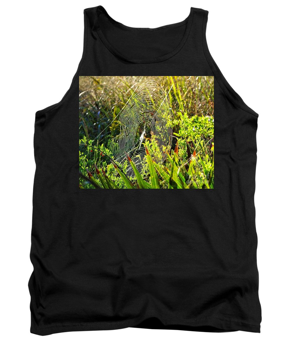 Spider Web Tank Top featuring the photograph Autumn Web by Gary Richards