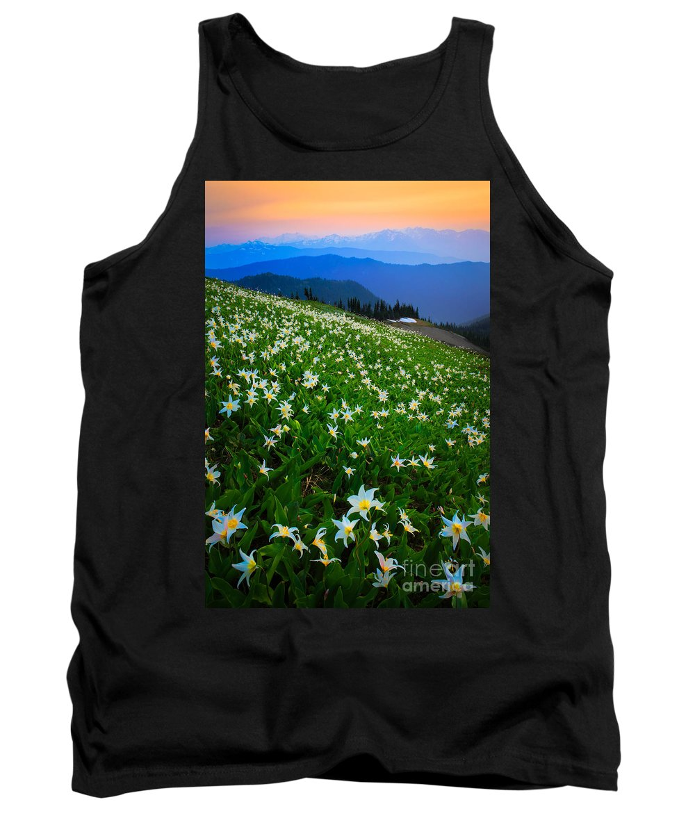America Tank Top featuring the photograph Avalanche Lily Field by Inge Johnsson