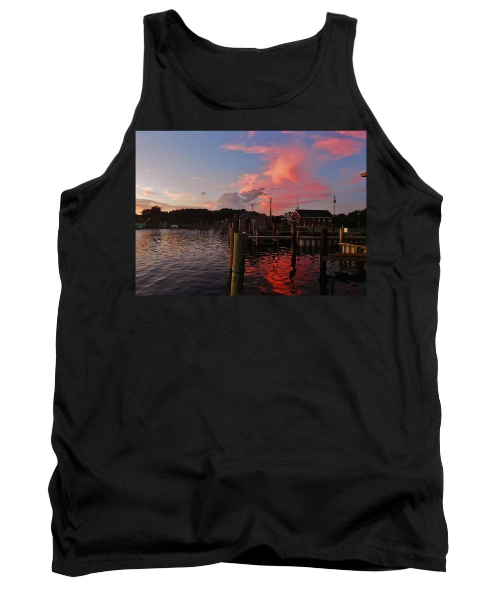Mark Lemmon Cape Hatteras Nc The Outer Banks Photographer Subjects From Sunrise Tank Top featuring the photograph Avon Harbor And Church 1 8/27 by Mark Lemmon