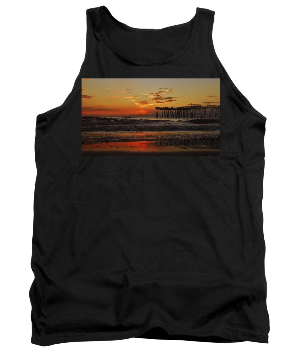 Mark Lemmon Cape Hatteras Nc The Outer Banks Photographer Subjects From Sunrise Tank Top featuring the photograph Avon Pier Hatteras Sunrise 1 1/15 by Mark Lemmon