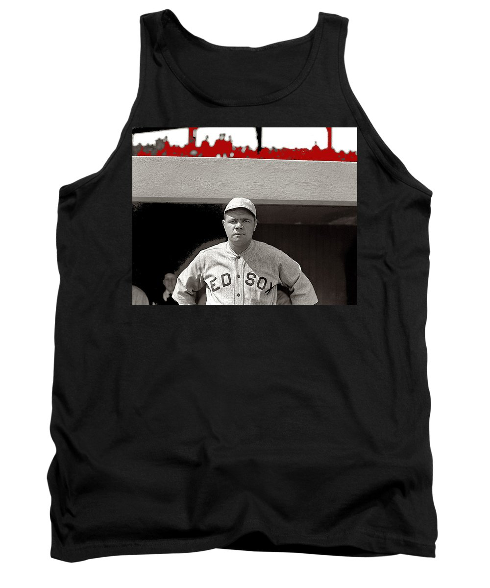 Babe Ruth As Member Of The Boston Red Sox National Photo Company Collection 1919-2013 Tank Top featuring the photograph Babe Ruth As Member Of The Boston Red Sox National Photo Company Collection 1919-2013 by David Lee Guss