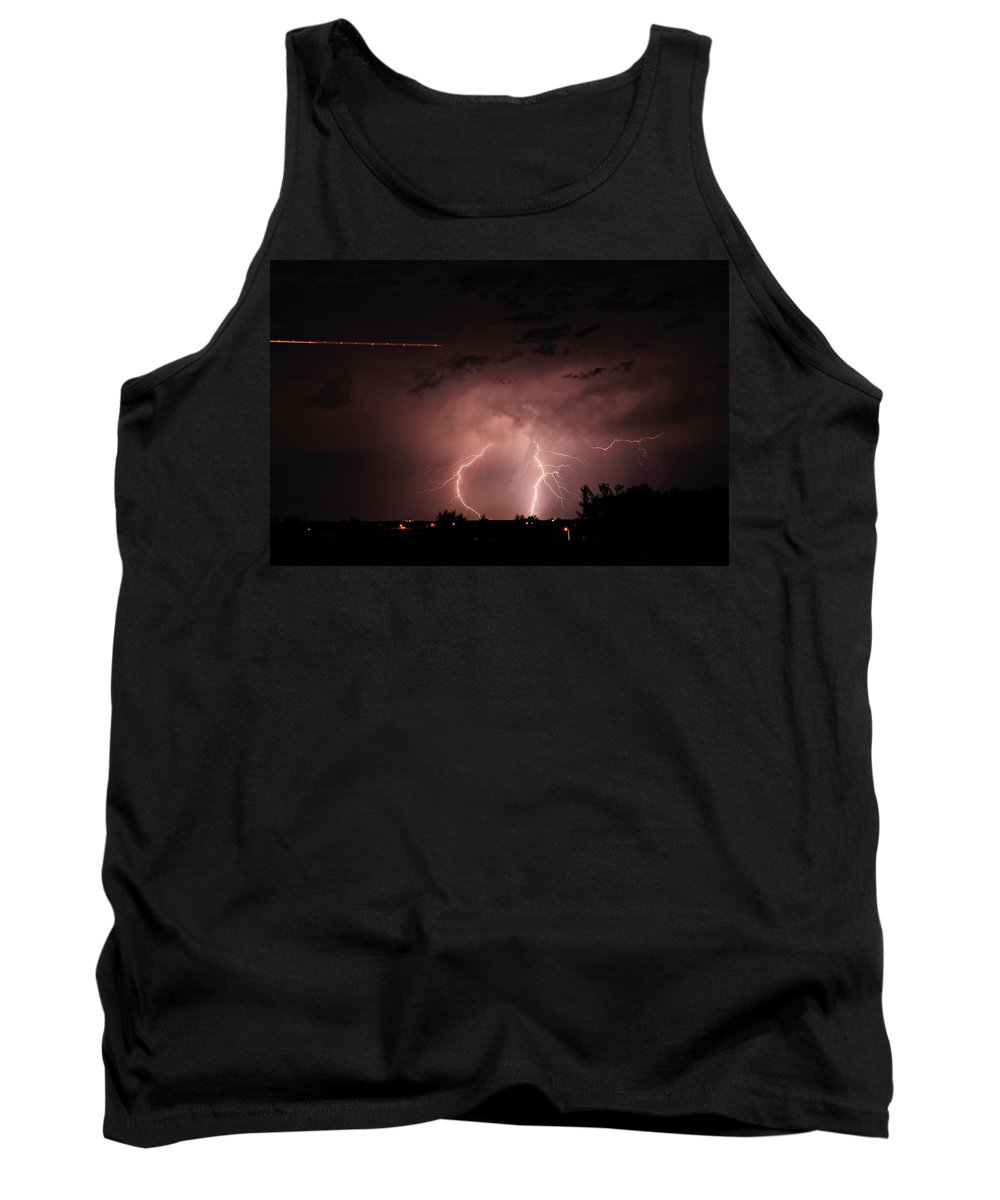 Lightning Tank Top featuring the photograph Backyard Bolt 1 by Marcelo Albuquerque