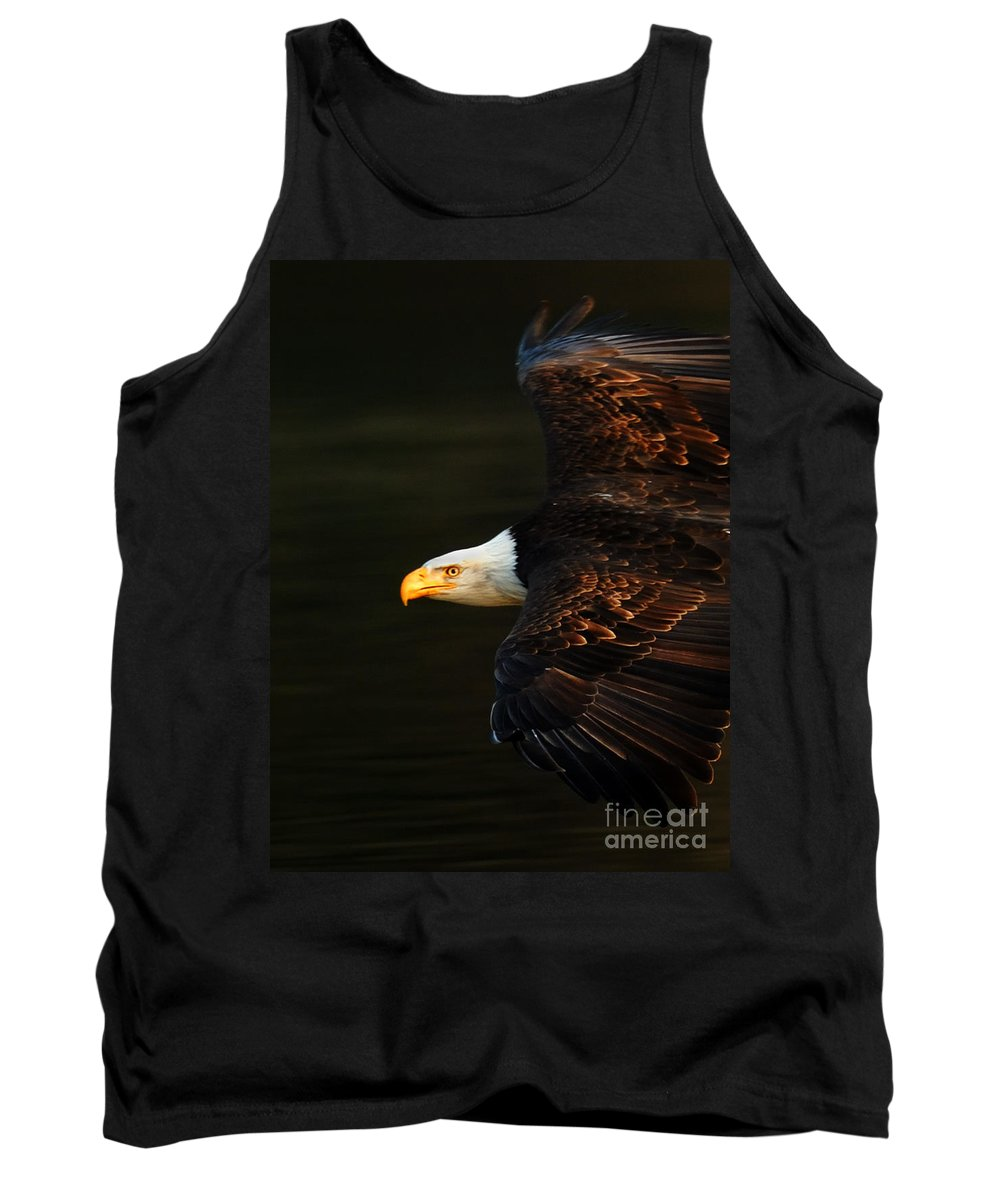 Eagle Tank Top featuring the photograph Bald Eagle In Flight by Bob Christopher