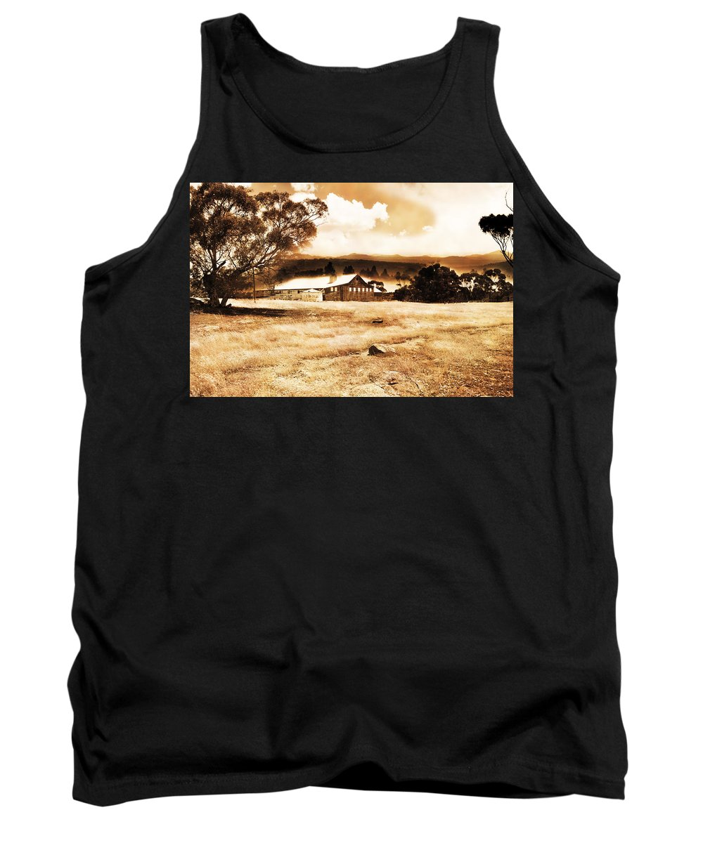 Hdr Tank Top featuring the photograph Barn And Field by Phill Petrovic