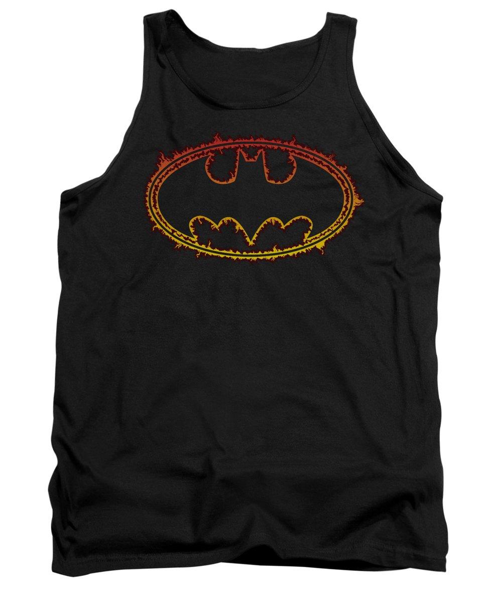 Batman Tank Top featuring the digital art Batman - Flame Outlined Logo by Brand A