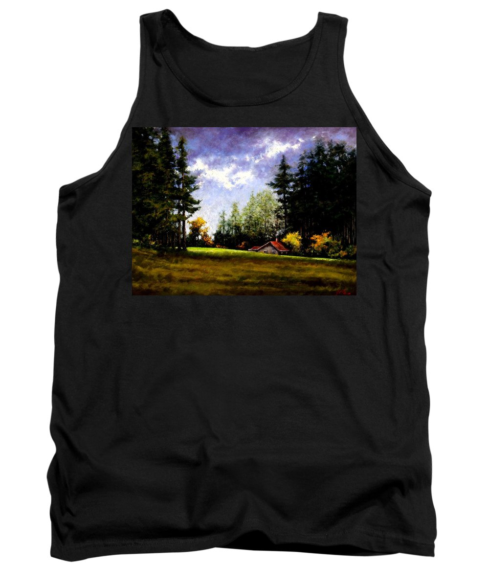 Landscape Tank Top featuring the painting Battle Ground Park by Jim Gola