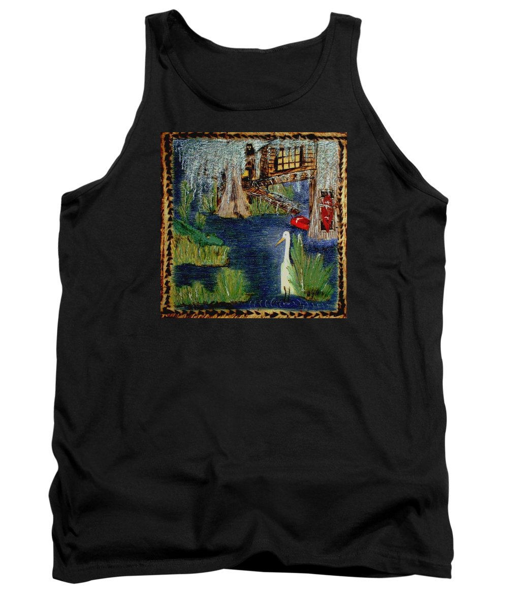 Water Tank Top featuring the mixed media Bayou by Cathyzcreations Cathy Randall