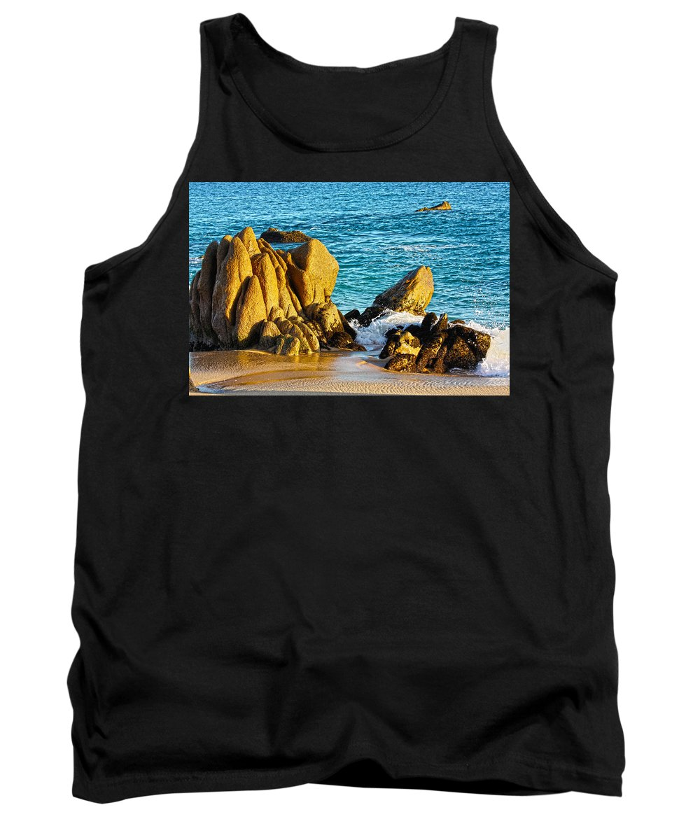 Seascape Tank Top featuring the photograph Beach Rocks by Shane Bechler