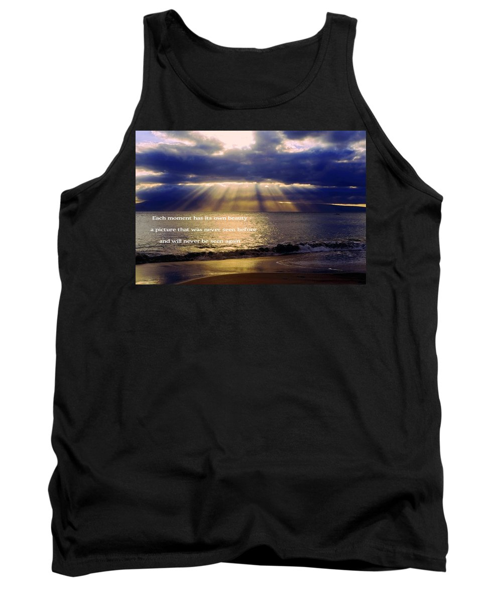 Sunbeams Radiating Through Clouds Before Sunset Tank Top featuring the photograph Beautiful Moment by Sally Weigand