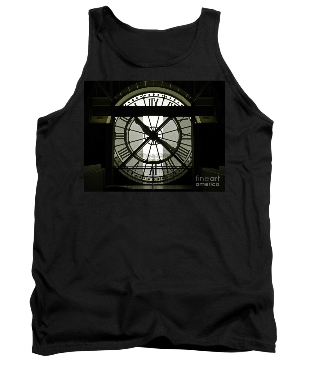 Clock Tank Top featuring the photograph Behind Time by Ann Horn