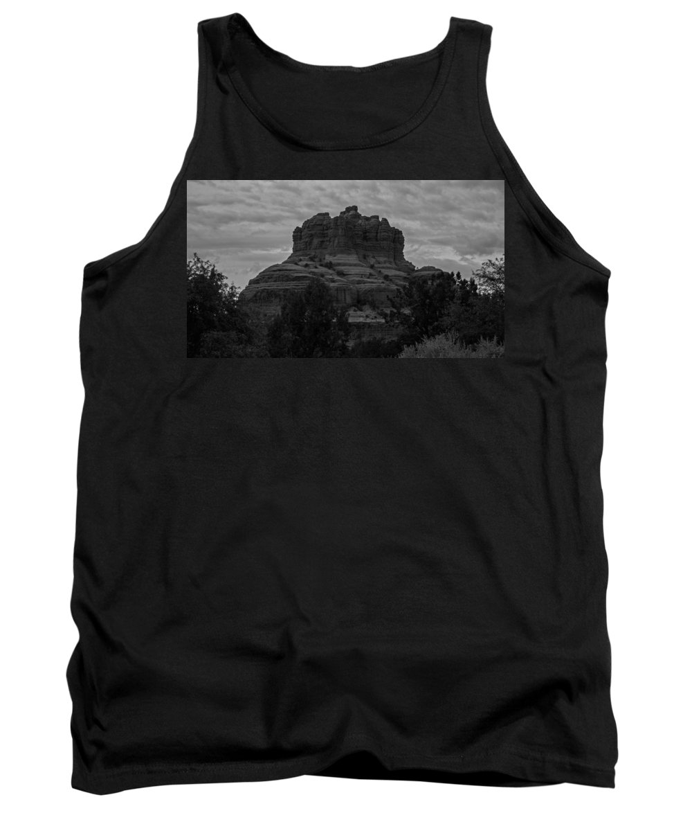 Bell Rock Tank Top featuring the photograph Bell Rock In Black White by Kathleen Odenthal