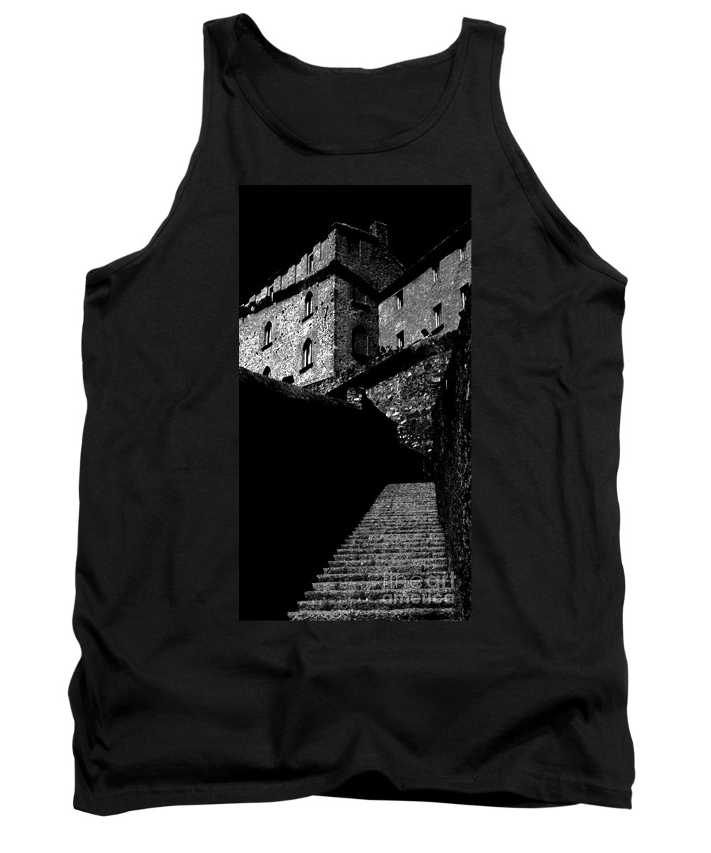 Digital Black And White Photo Tank Top featuring the digital art Bellinzona Castle Bw by Tim Richards